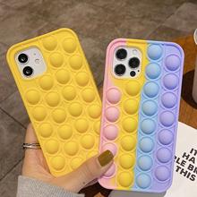 Reliever stres Pop It fidget zabawki silikonowe etui na Iphone 12 11 Pro Max Mini 7 8 Plus X XR XS 6 6S telefon Push It Bubble Cover tanie tanio APPLE CN (pochodzenie) Częściowo przysłonięte etui Silicone Zwykły W stylu rysunkowym