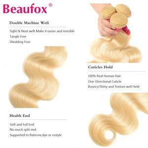 Image 2 - BEAUFOX – Mèches de cheveux naturels brésiliens, extension capillaire de qualité Remy, avec ondulation, fermeture en dentelle, matière humaine, coloris blond 613, vendu par 3
