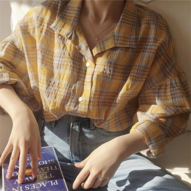 New Yellow Shirt Oversize Female Tops Women Long Sleeve Linen Cotton Girls Blouse Autumn Plus Size Women Blouses Plaid Femme