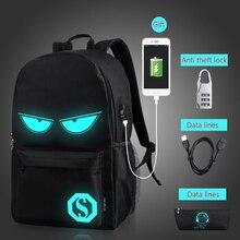Светящиеся модные рюкзаки, школьные ранцы с анимацией для мальчиков и девочек-подростков, сумки с USB-зарядкой и защитой от кражи для ноутбук...
