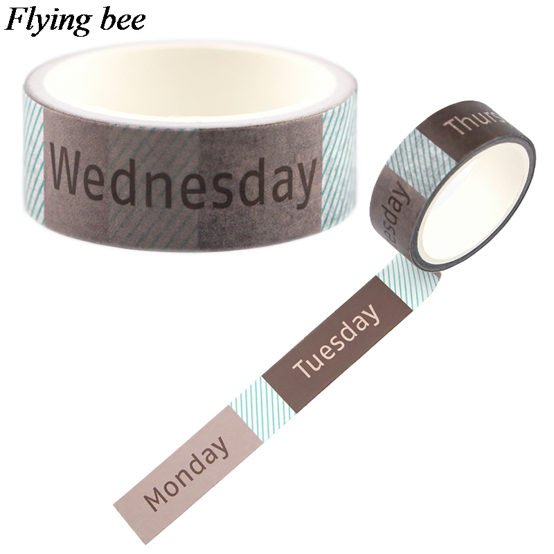 Flyingbee 15mmX5m Week Period Washi Tape Paper DIY Decorative Adhesive Tape Stationery Unique Masking Tapes Supplies X0691