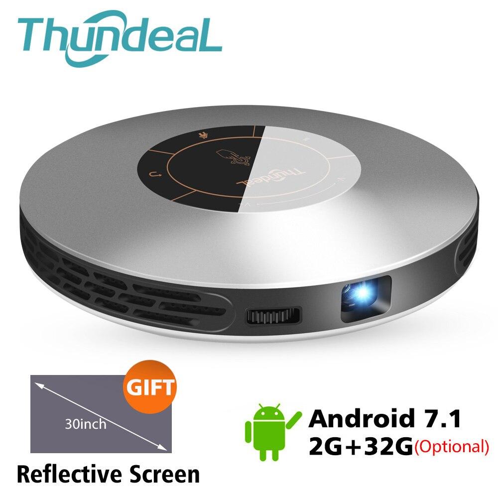 Projecteur ThundeaL DLP T18 mise à jour vers T18 Max WiFi Android 7 Pico poche HDMI pour 4K 16G 32G Mini LED projecteur 3D T18MAX