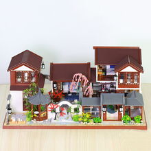 DIY dollhouse kit Chinese Architecture Suzhou Garden Chinatown cottage Doll House furniture with light roombox toys for children
