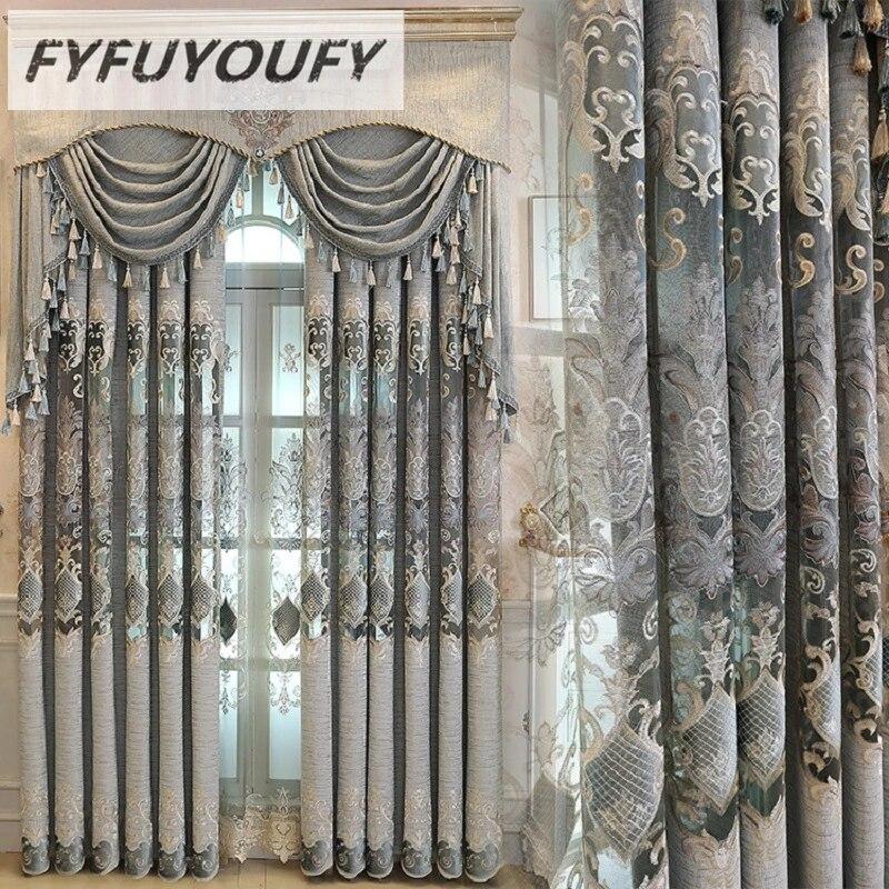 rideau occultant brode de luxe europeen pour le salon chambre a coucher stores de fenetre style de cuisine