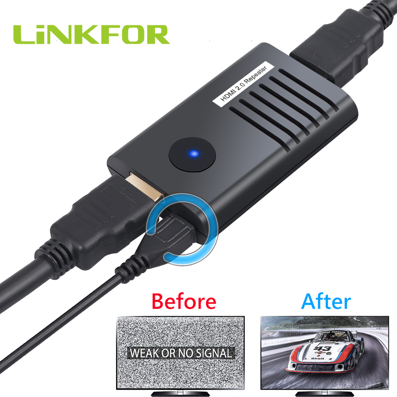 LiNKFOR 60M 4K 2160P 3D HDMI 2.0 Repeater Support 4K 60Hz HDR <font><b>4</b></font>: <font><b>4</b></font>: <font><b>4</b></font> HDMI Repeater HDMI 2.0 Extender Booster Adapter image
