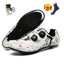 Buty rowerowe nowe obuwie rowerowe mężczyźni profesjonalne sportowe Zapatillas Ciclismo Mtb górskie obuwie samoblokujące rowerowe trampki tanie tanio WHOSONG CN (pochodzenie) Syntetyczny Oddychające Masaż Wodoodporna Cotton Fabric Średnie (b m) NYLON Gumką Cycling Shoes