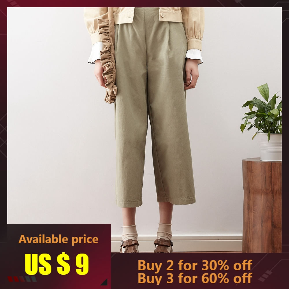 Metersbonwe   Wide     Leg     Pants   Female Ankle Length   Pants   Woman Loose High Quality Stretch Waist Office Lady   Pants   With Sashes