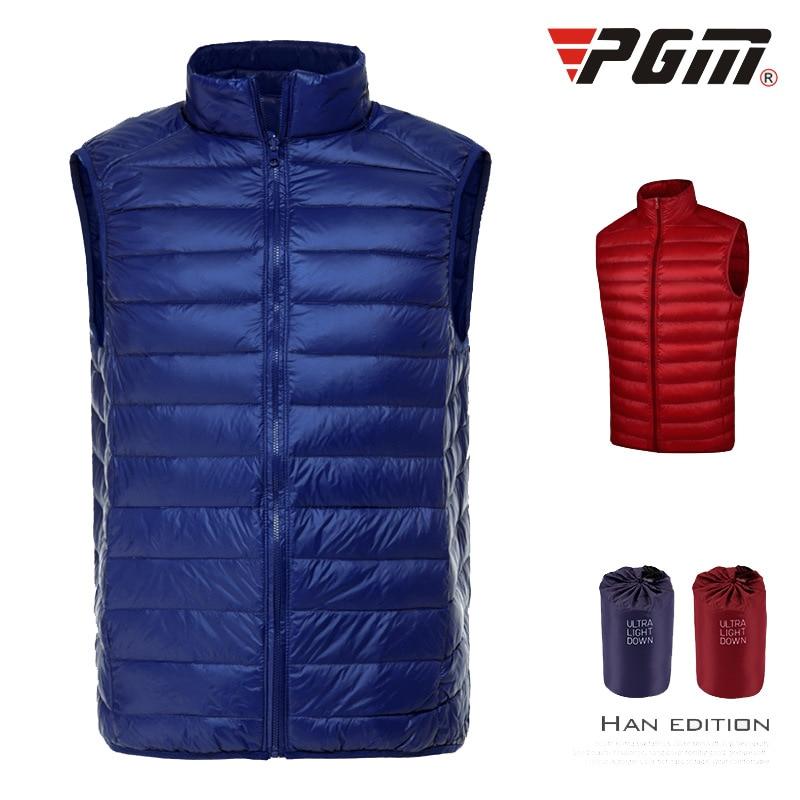 PGM Golf wear Men's Down Garment Majia Spring Outerwear Ultra Light Sportswear Portable White duck down vest warm thermostat