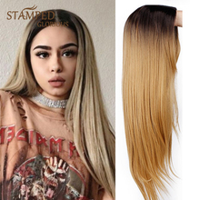 Stamped Glorious Straight Ombre Black Blonde Wig Long Synthetic Wig