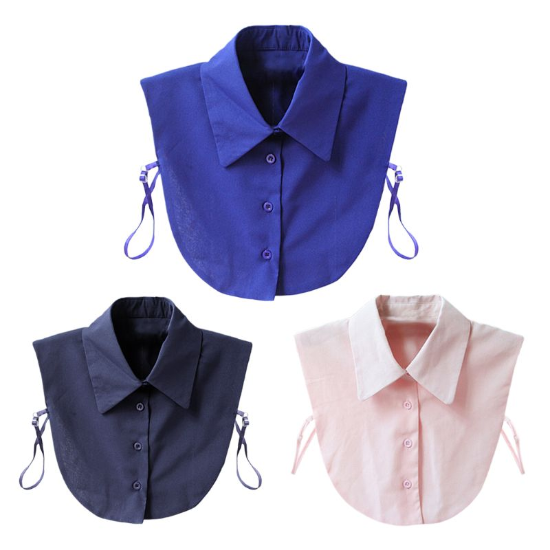 2020 New Soft Chiffon Pointed Fake Collar Half Shirt Necklace Choker With Buttons Band