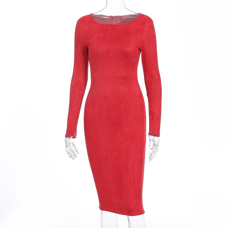 Suede Long Sleeve O-Neck Pencil Bodycon Dress 3