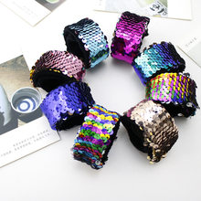2019 Wholesales Glitter Sequin Slap Bracelet Fashion Kids Wristband Headband for Children Holiday Christmas Gifts Party bracelet(China)