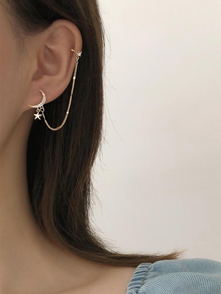 Simple Moon Star Rhinestone Long Chain Earrings For Women Shine Sun Crescent Geometric