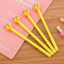 4 teile/los Kreative Nette Gelb Kawaii Katze 0,5mm Black Ink Gel Stifte Schreiben Büro Schule Kinder Mädchen Liefert Schreibware