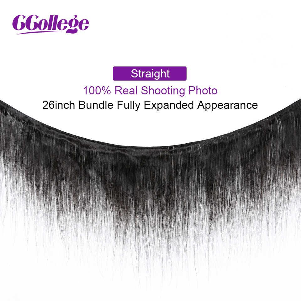 CCollege perulu düz saç uzatma örgü 3 demetleri ile kapatma 4*4 dantel kapatma insan saçı paketler olmayan remy