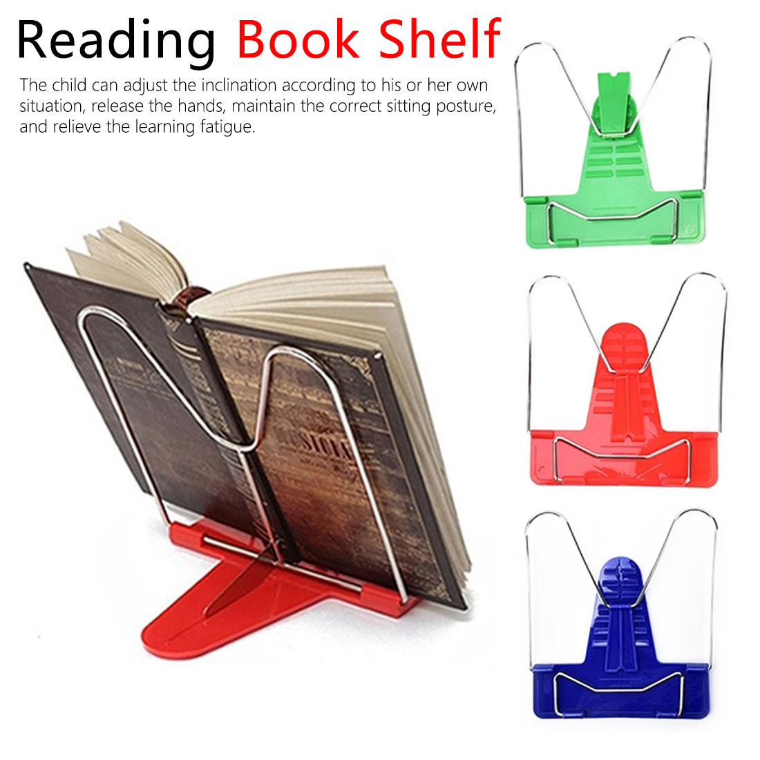 Reading Book Shelf Portable Foldable Adjustable Bookend Stand Reading Book Stand Document Holder