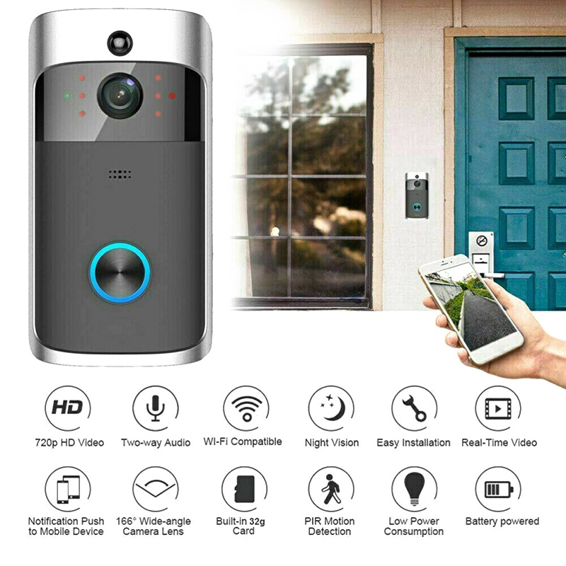 WiFi Smart Video Doorbell HD Security Camera Wireless Intercom PIR Wide-Angle For Home OUJ99