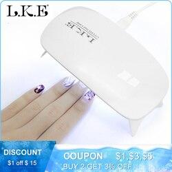 IKE 12W Lâmpada Prego 6 Luz LED Secador de Unha Arte Manicure Portátil Suporte Mini USB Carregador de Cura UV LED prego De Secagem Lâmpada Géis