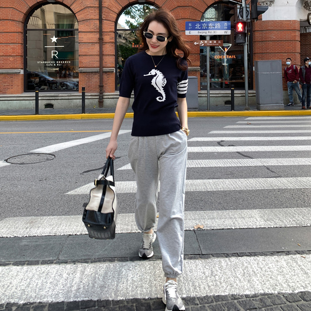 2021 new spring and summer TB women's round neck cashmere T-shirt star same 5-sleeve cashmere sweater Pullover short sleeve 2