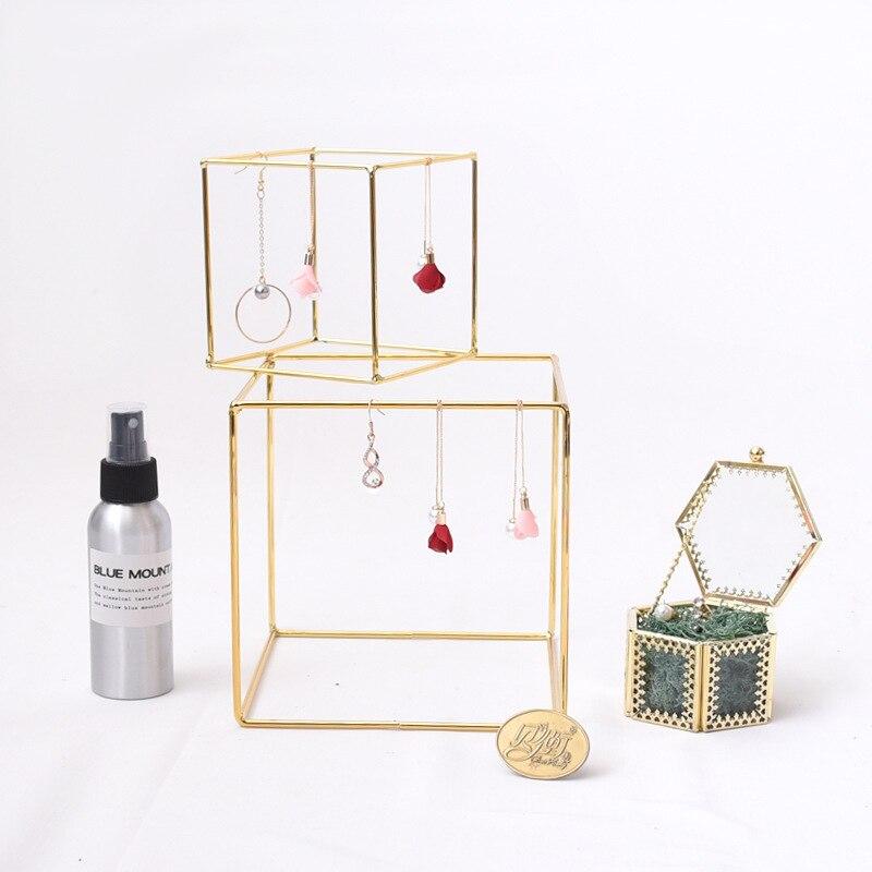 Metal Jewelry Display Holders Minimalist Plating Gold Geometric Iron Desktop Decoration Earring Necklace Rack Home Organization