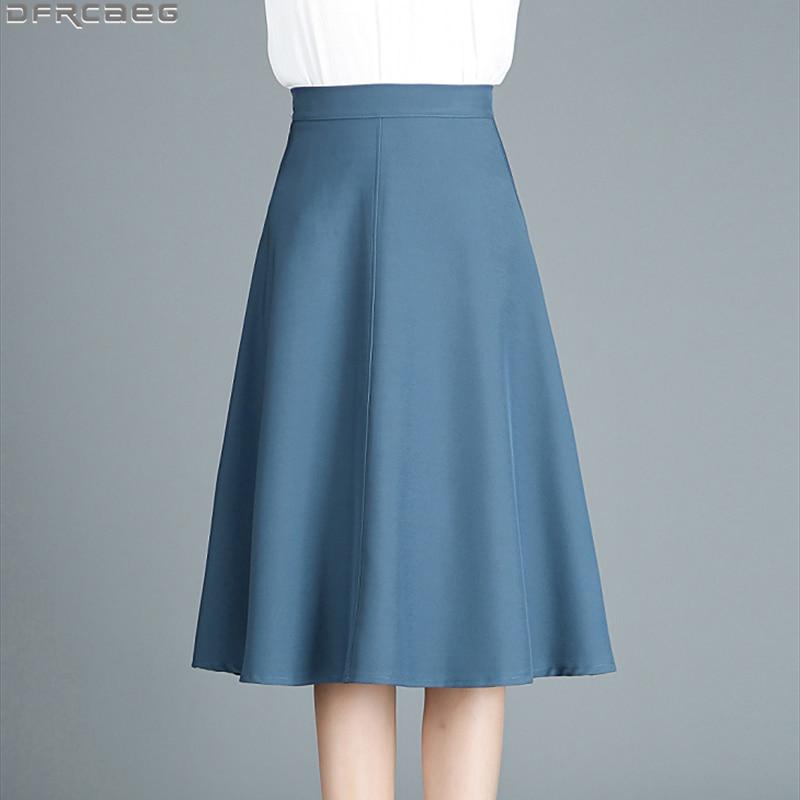 High Waist Office Midi Skirts For Women 2019 Autumn Work Wear Pleated A-Line Skirts Female Casual Saia Blue Black Khaki