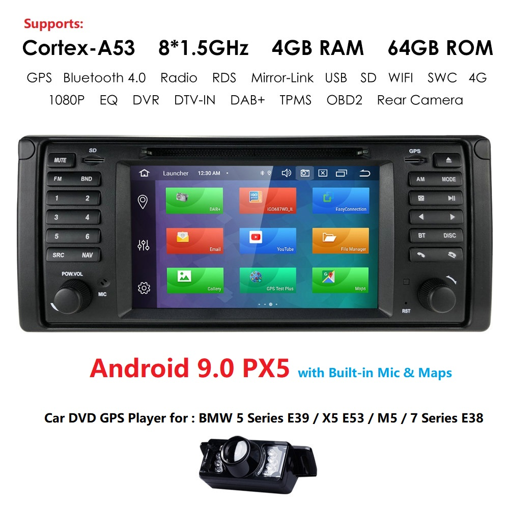 1 Din Android 9.0 Auto Radio For BMW/E39/X5/E53 Octa Core RAM 4GB ROM 64GB GPS Car Multimedia Stereo System DSP DVD USB DVR TPMS image