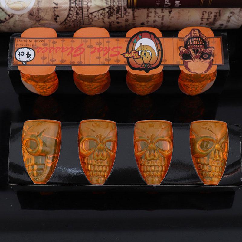 4Pcs/Set Skull Shape Water Bottle Halloween Cup Halloween Plastic Drinkware Creative Horror Beer Mug Party Bar Club Decorations