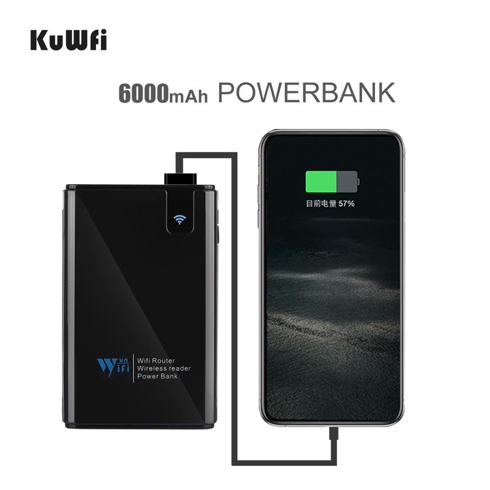 Image 3 - KuWFi, datos inalámbricos, Banco de energía para compartir, Router de viaje, lector de tarjetas SD inalámbrico, conectar disco duro portátil SSD al iPhone iPadRúteres inalámbricos   -