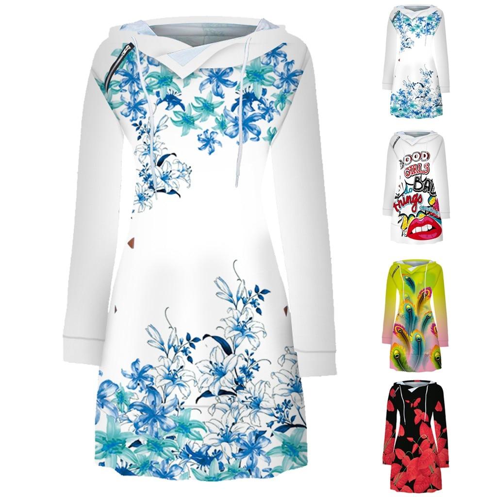 2020 ropa mujer vestido mujer women dress Leisure Print Long Sleeve Zipper Strappy O-Neck plus size dress sukienka  roupa