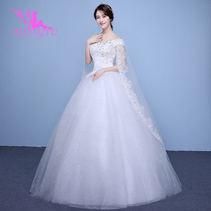 Image 2 - AIJINGYU 2021 real photos new hot selling cheap ball gown lace up back formal bride dresses wedding dress WK595