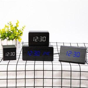 Image 3 - MULTICOLOR LED ไม้นาฬิกาปลุกนาฬิกาควบคุมเสียงดิจิตอลไม้ Despertador Desktop อิเล็กทรอนิกส์ USB/AAA นาฬิกา