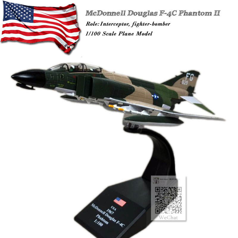AMER 1/100 Scale Military Model Toys USA McDonnell Douglas F-4C Phantom II Fighter Diecast Metal Plane Model Toy For Collection