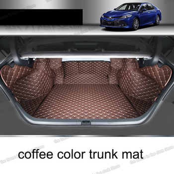 Lsrtw2017 Leather Car Cargo Liner Trunk Mats for Toyota Camry 2018 2019 2020 Xv 70 Rug Carpet Interior rear boot luggage hybrid lsrtw2017 leather car interior floor mats for volkswagen transporter 2016 2017 2018 2019 2020 t6 carpet rug styling vw
