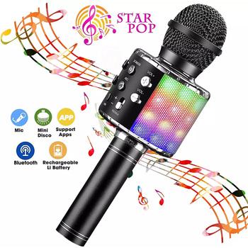 Profesjonalny bezprzewodowy mikrofon Bluetooth głośnik mikrofon ręczny mikrofon Karaoke odtwarzacz muzyczny rejestrator śpiewu KTV mikrofon tanie i dobre opinie selectec Mikrofon pojemnościowy Karaoke mikrofon Pojedyncze Mikrofon CN (pochodzenie) Dookólna wireless WS858L LED Handheld Microphone