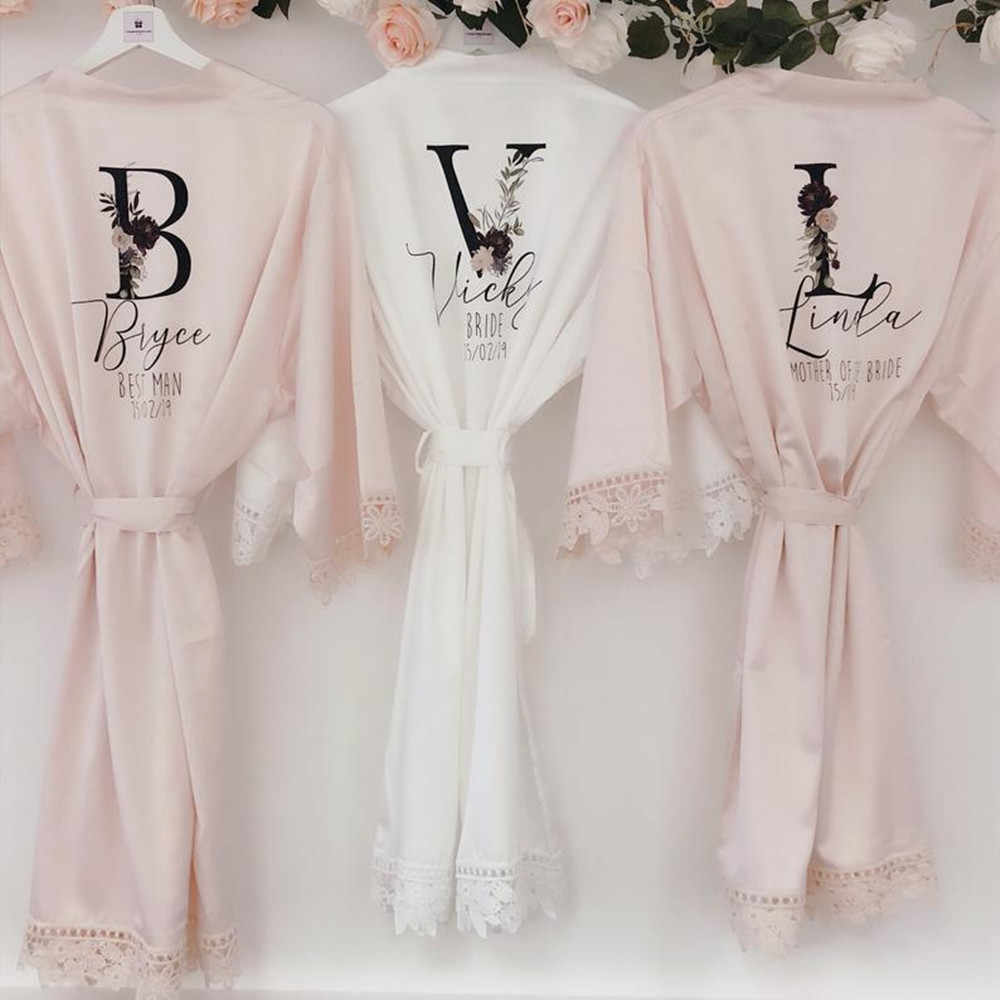Personalized Bridesmaid Robes Bridal Party Robes Lace Bridal Party Robes Set Bridal Party Robe 4xl Lace Bridal Party Robes