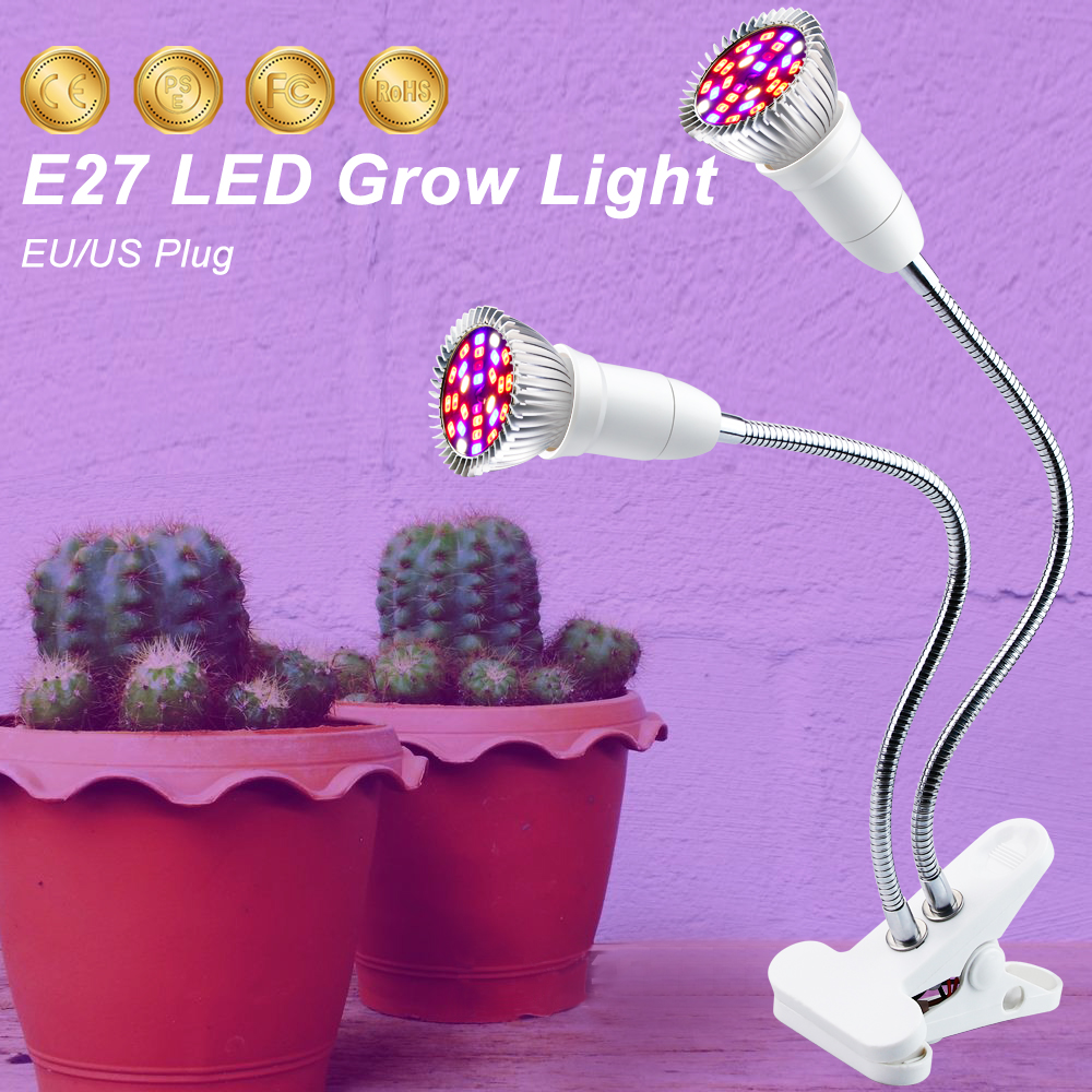 E27 85-265V Indoor Growing Light 18W 28W LED Grow Light Full Spectrum For Plants Hydroponics Flowers Vegetables Grow Tent