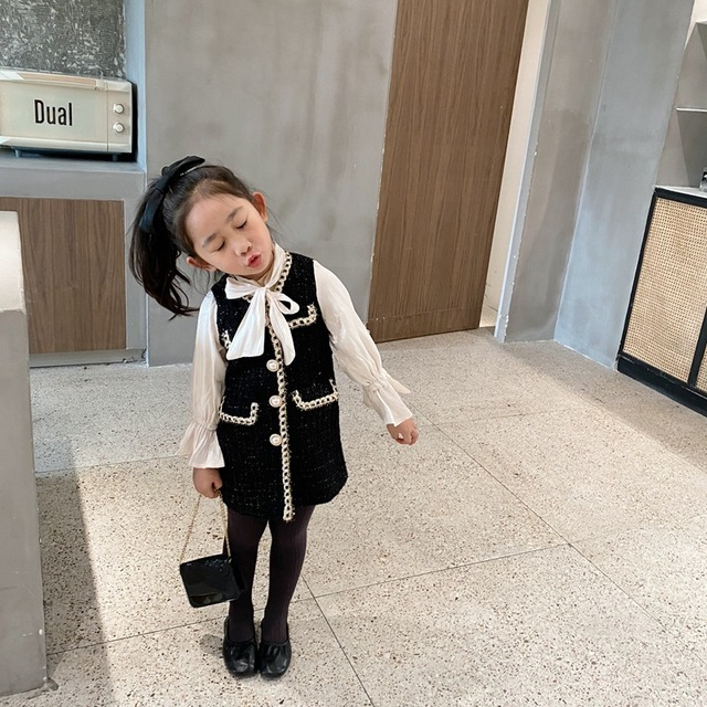 2020 Autumn New Arrival Girls Fashion Tweed Dress Kids Long Sleeve  Dresses  Girls Princess Dress 2