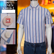 Billionaire Shirt linen Thin Short sleeve men's 2021 new fashion stripes embroidery Breathable big size M-4XL high quality