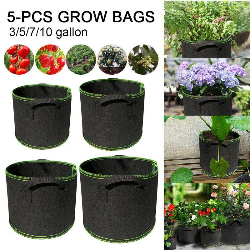 5 pçs reusável crescer saco plantador vegetal tomate batata cenoura jardim planta potes tecido não tecido respirável crescer recipientes|Sacos crescimento|   -