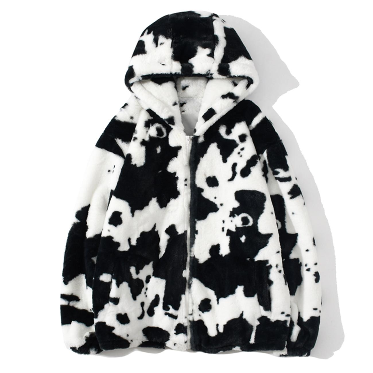 Zipper Cardigan Coat Hoodie Outwear Lambswool Jacket Harajuku Cow-Print Winter Couple