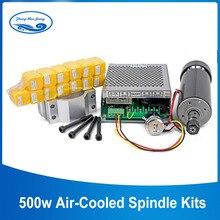 500 кВт шпиндель с воздушным охлаждением патрон ER11 CNC Шпиндельный двигатель Вт + 52 мм зажимы + блок питания Регулятор скорости для гравировки