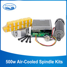 0.5kw Air Cooled Spindle ER11 Chuck CNC Spindle Motor 500W + 52mm Clamps+Power Supply Speed Governor For Engraving