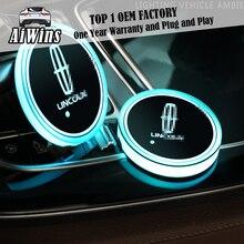Aiwins автомобильный светящийся коврик для посуды для LINCOLN Полная серия автомобильный светящийся Логотип Аксессуары Atmospherelight