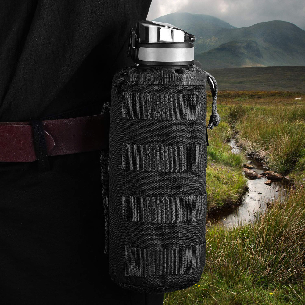 Tactical Molle Military Drawstring Kettle Pouch Holder Travel Water Bottle Bag
