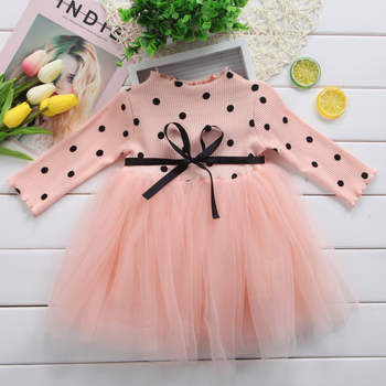 Girl Princess Long Sleeve Dress Newborn Infant Clothes Baby Girl Bow Dot Tutu Ball Gown Party Dresses Kid  Clothes long sleeve baby girl dress newborn princess infant baby girl clothes mesh tutu ball gown party dresses little girls clothes
