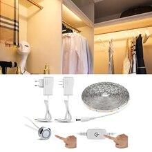 Гибкая сенсорная светодиодная лента для сенсорного переключателя 1 м 2 м 3 м 4 м 5 м с регулируемой яркостью, светодиодная лампа для шкафа, лента для шкафа, кухонный шкаф, освещение