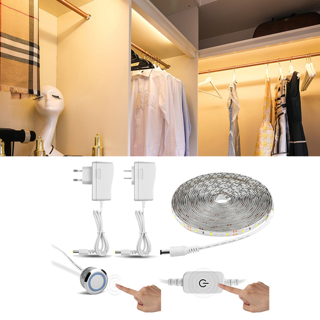 ยืดหยุ่น Touch Switch สวิทช์ LED Strip light 1M 2M 3M 4M 5M Led ตู้เสื้อผ้าตู้โคมไฟตู้เสื้อผ้าห้องครัว