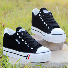 Women Platform Sneakers Casual Canvas Shoes Female Lace Up V