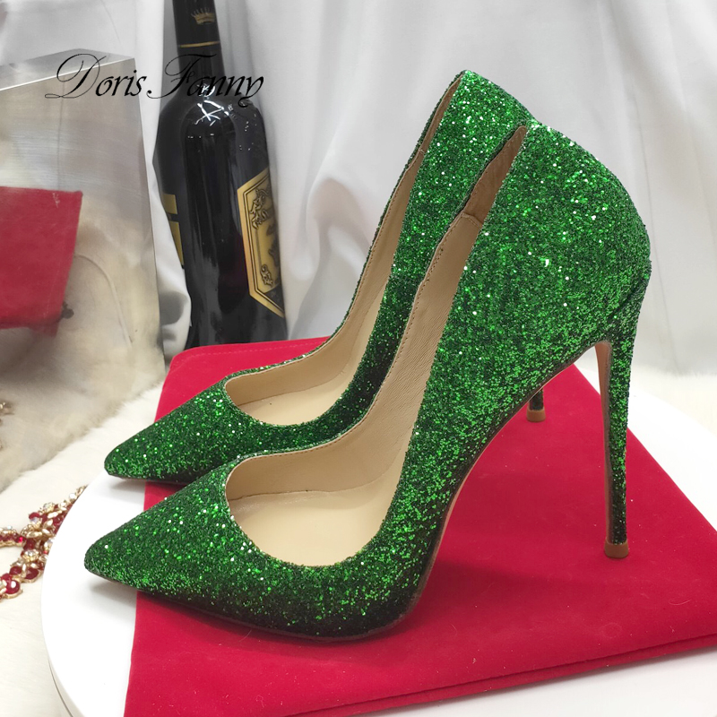 Doris Fanny Closed toe green glitter shoes party wedding women high heel shoes sexy stilettos women pumps - 1