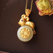 Pendant Necklace Silver Jewelry Hetian White Jade Gold Chinese-Style Natural Light Craft